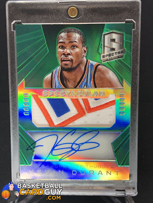 Kevin Durant 2014-15 Panini Spectra Spectacular Swatches Signatures Prizms Green #/5 - Basketball Cards