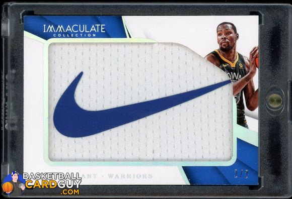 Kevin Durant 2017-18 Immaculate Collection Game-Worn Nike Brand Logos 2/2 - Basketball Cards