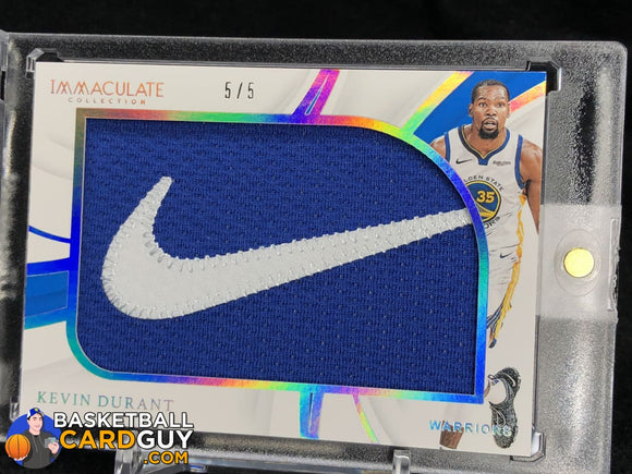 Kevin Durant 2018-19 Immaculate Collection Game Worn Nike Patch Brand Logos #/5 - Basketball Cards