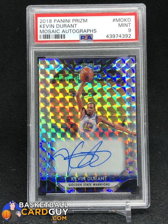 Kevin Durant 2018-19 Panini Prizm Mosaic Autographs #15 PSA 9 MINT - Basketball Cards