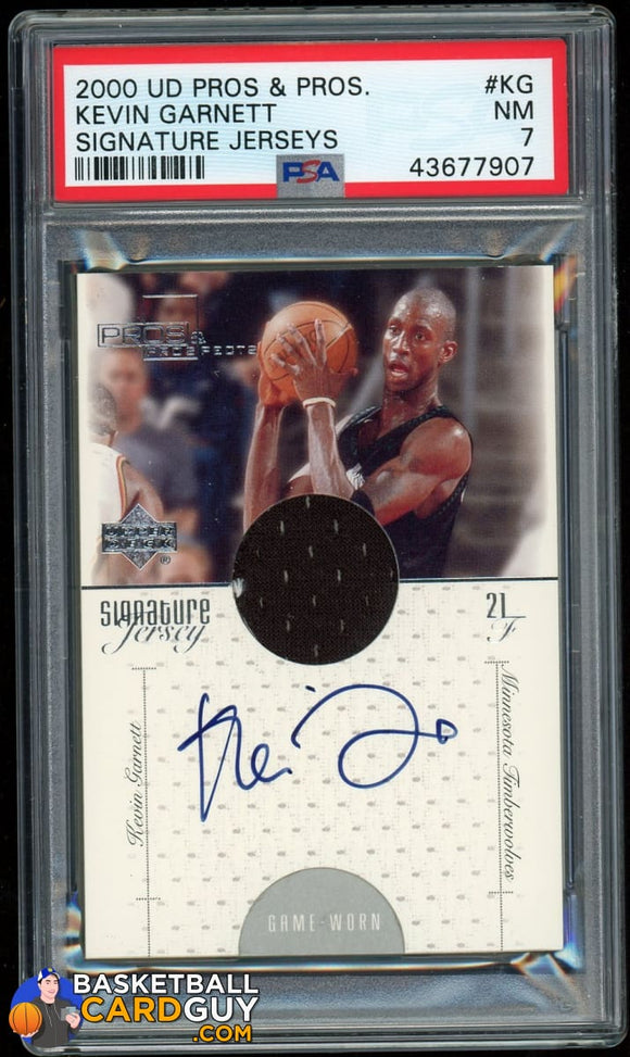 Kevin Garnett 2000-01 Upper Deck Pros and Prospects Signature Jerseys #KG PSA autograph basketball card graded jersey