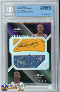 Kevin Garnett/Kobe Bryant 2008-09 UD Black Veteran Signed Jersey Pieces Dual #DJVBG AUTO GRADED 10 - Basketball Cards