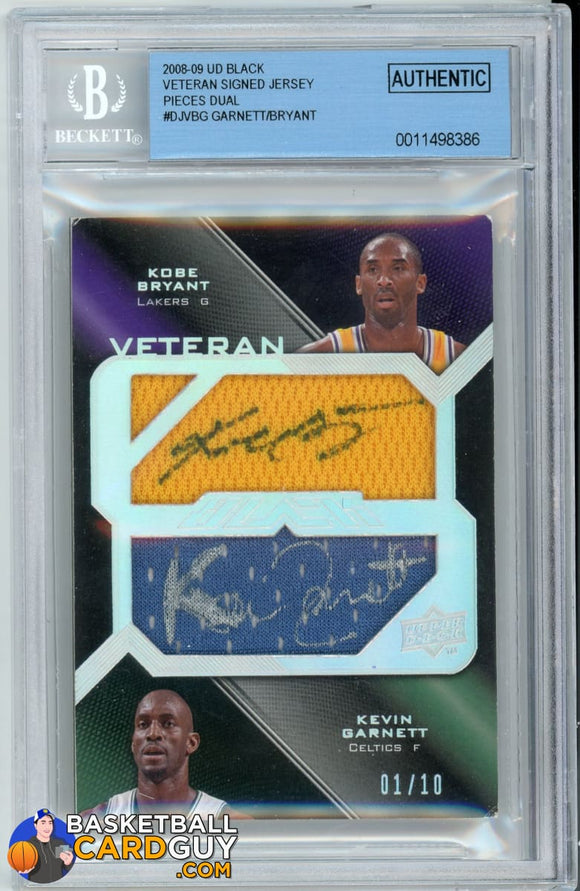 Kevin Garnett/Kobe Bryant 2008-09 UD Black Veteran Signed Jersey Pieces Dual #DJVBG autograph basketball card numbered patch