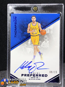 low priced a467c ef248 Klay Thompson 2015-16 Panini Preferred Autographs Blue #141 ...
