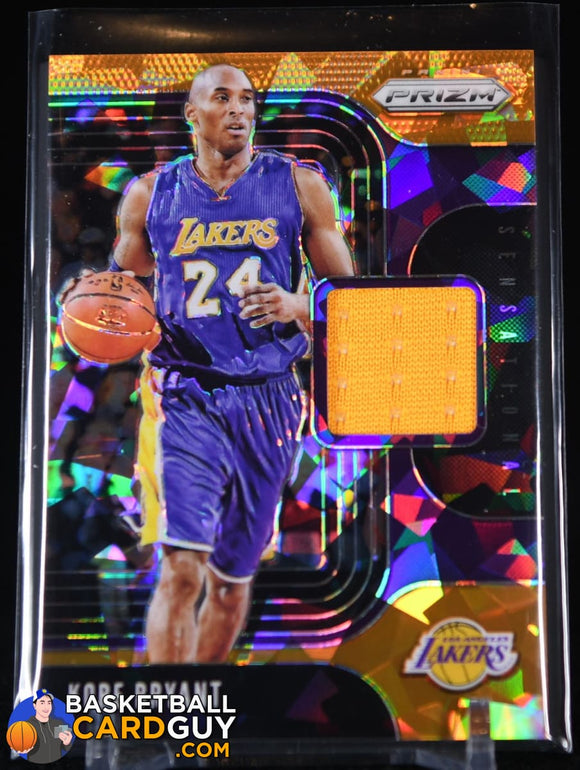 Kobe Bryant 2019-20 Panini Prizm Sensational Swatches Prizms Orange Ice #75 basketball card, jersey, prizm