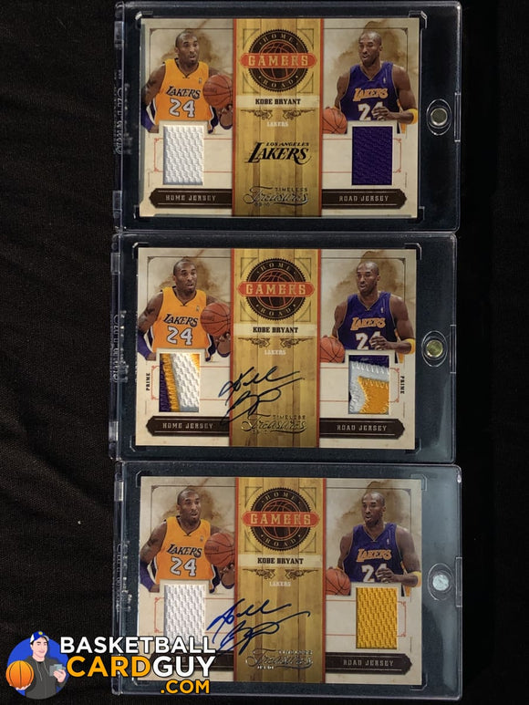 Kobe Bryant 3-Card LOT: 2009-10 Timeless Treasures Home and Road Gamers basketball card