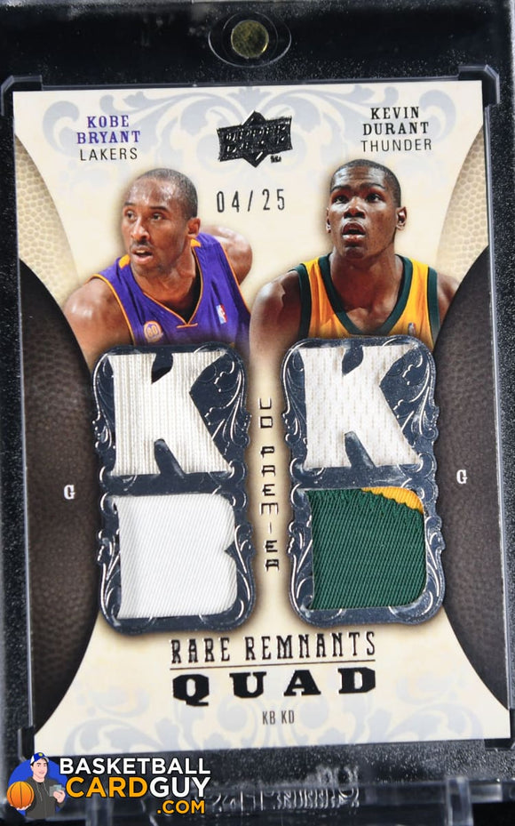 Kobe Bryant / Kevin Durant 2008-09 Upper Deck Premier Rare Remnants Quad Patch #RR4BD #/25 autograph, basketball card, numbered, patch