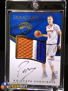 Kristaps Porzingis 2016-17 Immaculate Collection Premium Patch Autographs #/35 - Basketball Cards
