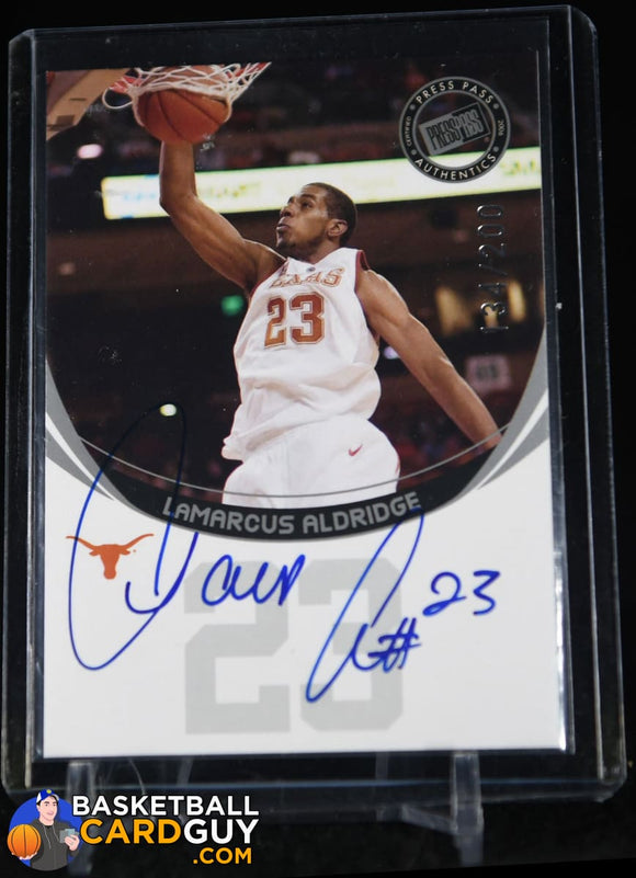 LaMarcus Aldridge 2006 Press Pass Autographs Silver #2 #/200 autograph, basketball card, numbered, rookie card