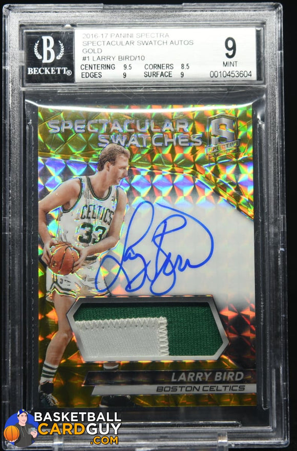 Larry Bird 2016-17 Panini Spectra Spectacular Swatch Autographs Patch Gold #/10 autograph, basketball card, numbered, patch, prizm