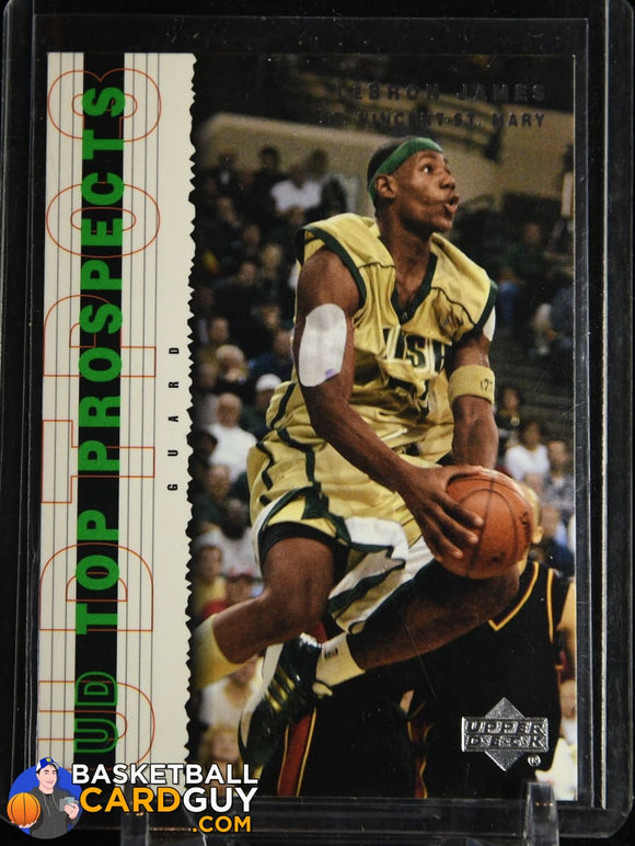 LeBron James 2003-04 UD Top Prospects #3 RC basketball card, rookie card