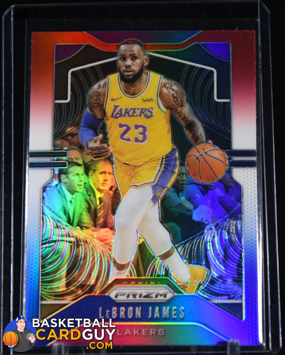 LeBron James 2019-20 Panini Prizm Prizms Red White and Blue #129 basketball card, prizm, rookie card