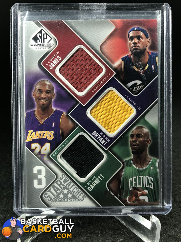 LeBron James/Kobe Bryant/Kevin Garnett 2009-10 SP Game Used 3 Star Swatches basketball card jersey numbered
