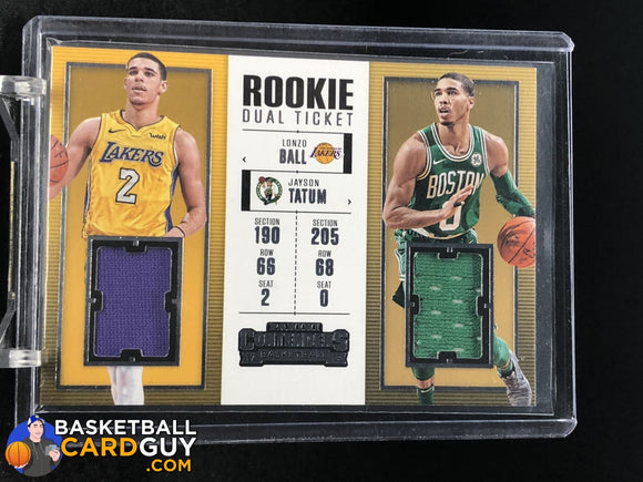 Lonzo Ball/Jayson Tatum 2017-18 Panini Contenders Rookie Ticket Dual Swatches basketball card jersey rookie card