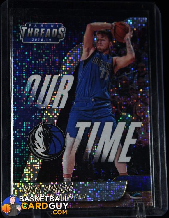 Luka Doncic 2018-19 Panini Threads Our Time Dazzle #15 basketball card, numbered, patch, rookie card