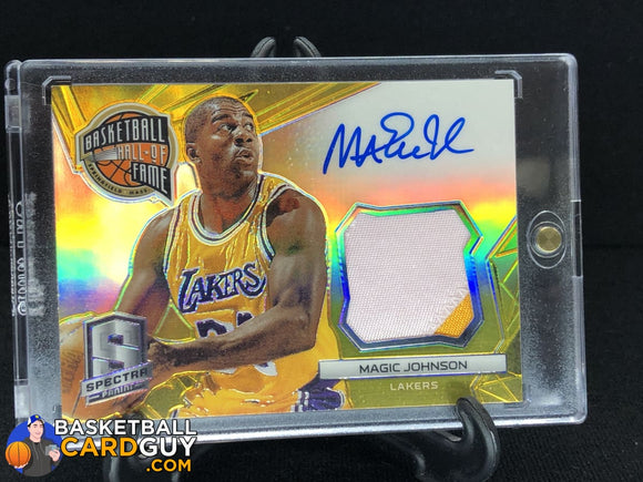 Magic Johnson 2014-15 Panini Spectra Hall of Fame Autograph Materials Prizms Gold /10 autograph basketball card numbered patch