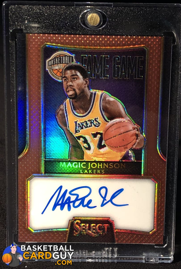 Magic Johnson 2014-15 Select Fame Game Autographs Prizms Copper #/49 autograph basketball card refractor