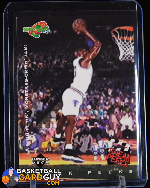 Michael Jordan 1996 Upper Deck Space Jam #55 Sneak Peak High Flying Jam basketball card
