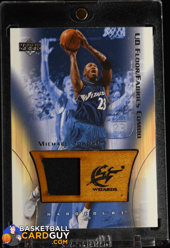 Michael Jordan 2003-04 Upper Deck Hardcourt Floor/Fabric Combos #MJFF basketball card, floor, jersey