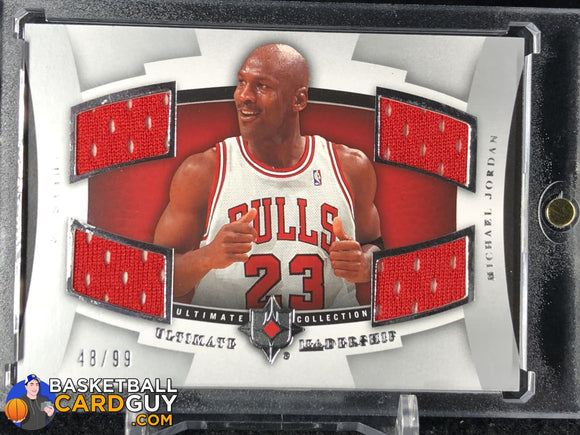 Michael Jordan 2007-08 Ultimate Collection Leadership Quad Jersey Silver #/99 - Basketball Cards