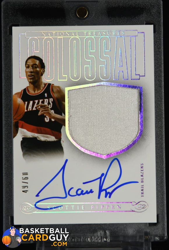 Scottie Pippen 2013-14 Panini National Treasures Colossal Materials Signatures #/60 autograph, basketball card, jersey, numbered