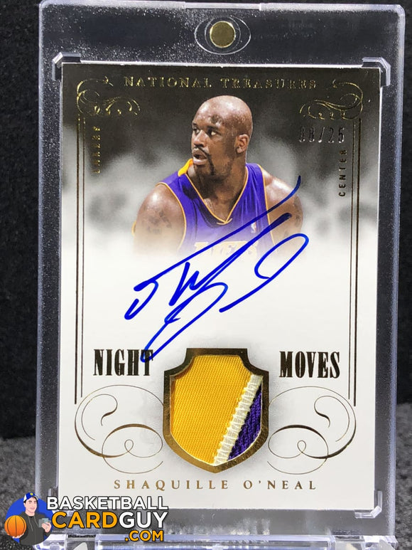 Shaquille Oneal 2013-14 Panini National Treasures Night Moves Signature Materials Prime #/25 Autograph Basketball Card