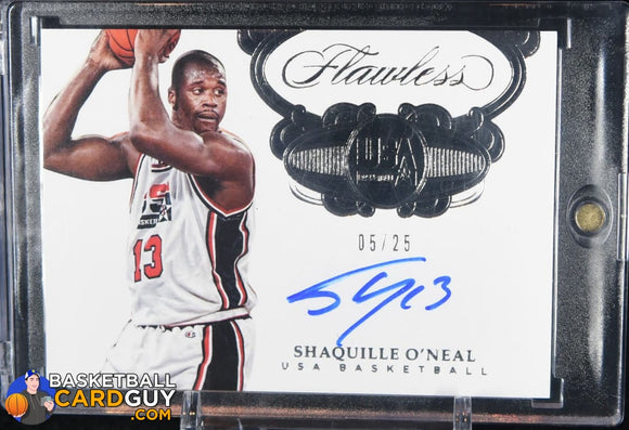 Shaquille O'Neal 2017-18 Panini Flawless USA Basketball Autographs #/25 - Basketball Cards
