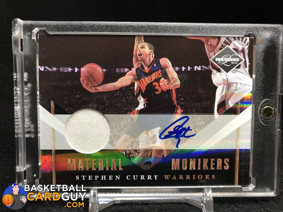 Stephen Curry 2010-11 Limited Monikers Materials #/99 autograph basketball card jersey numbered