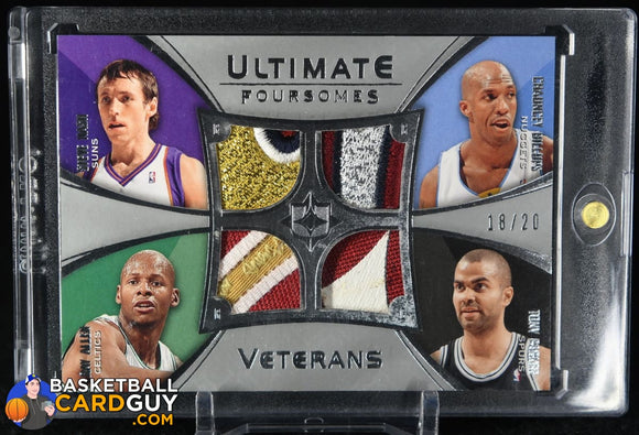 Steve Nash/Ray Allen/Tony Parker/Chauncey Billups 2008-09 Ultimate Collection Patches Foursome Veterans #UFVA07S basketball card, numbered,