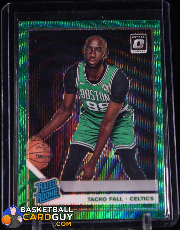 Tacko Fall 2019-20 Donruss Optic Fanactis Exclusive Green Wave RC basketball card, prizm, refractor, rookie card