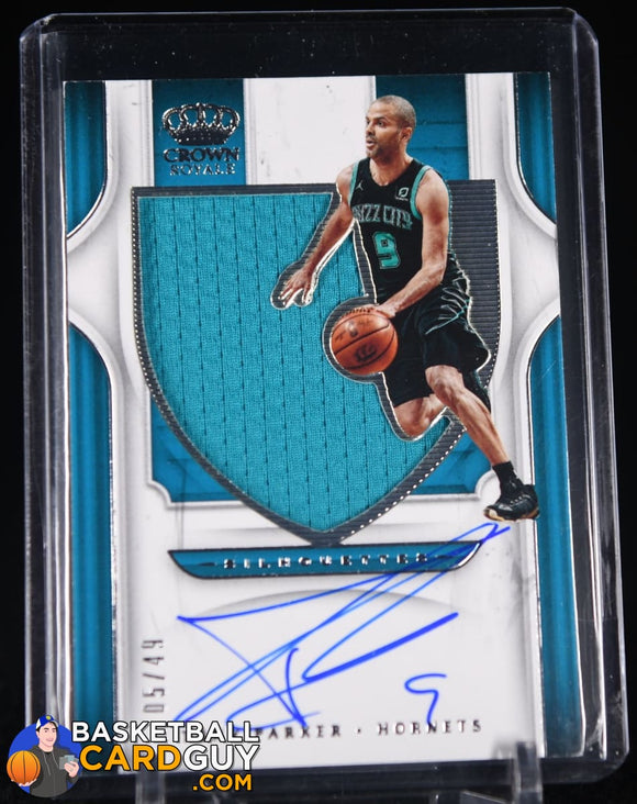 Tony Parker 2019-20 Crown Royale Autograph Relic Silhouettes #/49 autograph, basketball card, jersey, numbered