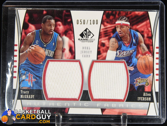 Tracy McGrady / Allen Iverson 2004-05 SP Game Used Authentic Fabrics Dual #/100 basketball card, jersey, numbered