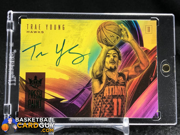 Trae Young 2018-19 Court Kings Fresh Paint Autographs Jade SSP - Basketball Cards