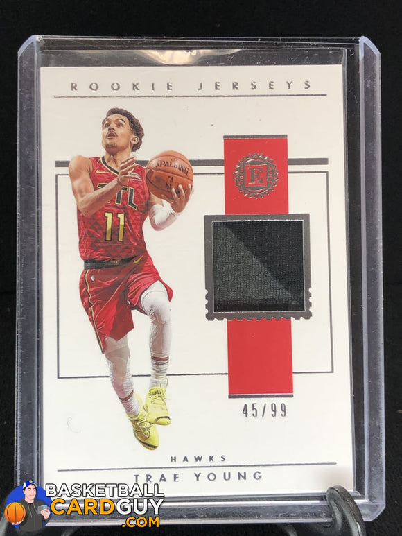 Trae Young 2018-19 Panini Encased Rookie Jerseys #/99 basketball card jersey rookie card