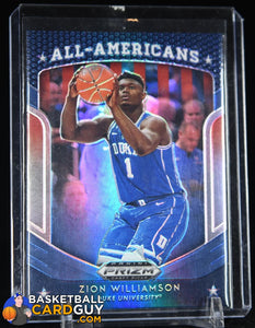 Zion Williamson 2019-20 Panini Prizm Draft Picks Prizms Silver #100 All-Americans basketball card, prizm, rookie card