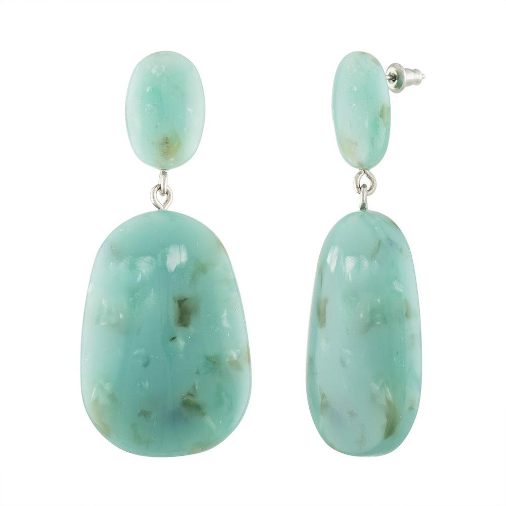 Grande Drop Earrings in Teal Mineral