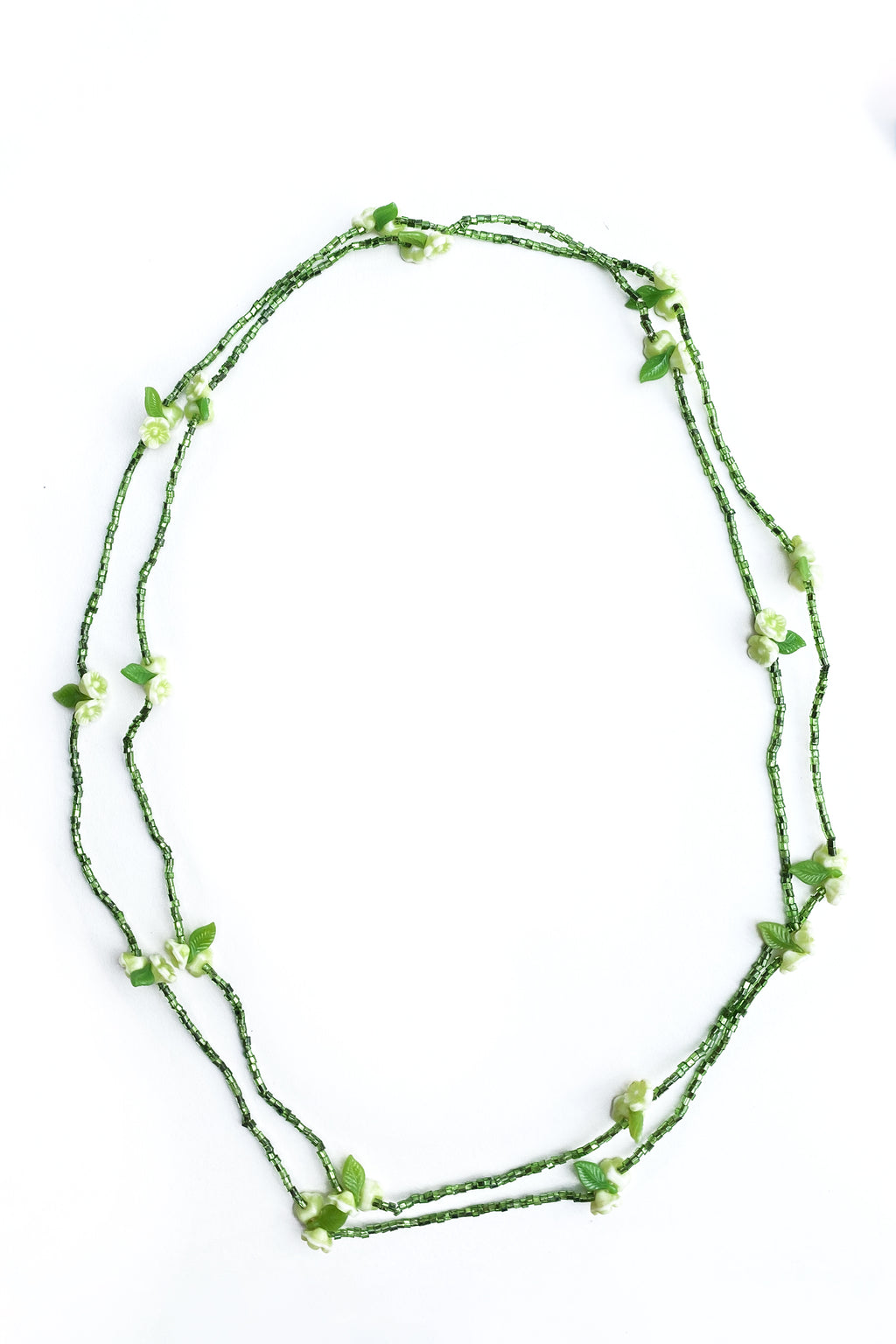 petite green seed bead and flower long necklace