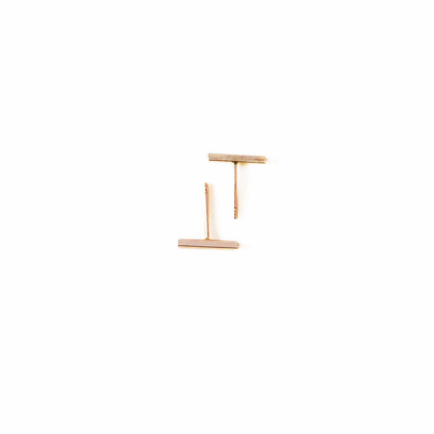 Tiny Bar Earrings - 14k GF