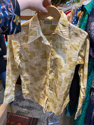 The Villager sage green print button down shirt 10