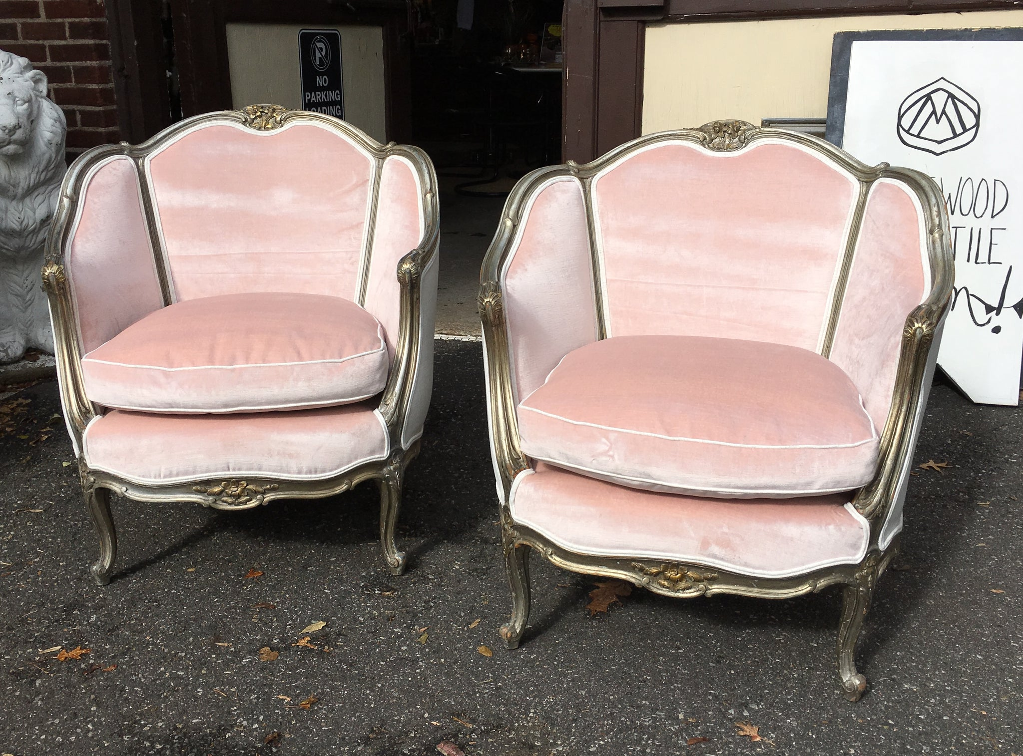 Pair of French Provincial Bergere Chairs