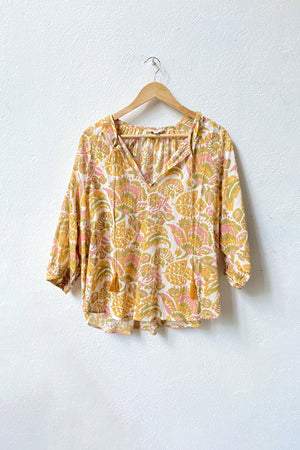 VOLOSHIN Taara Popover Peasant Blouse - Goldenrod Parlour Floral