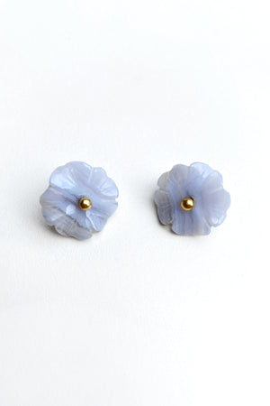 Vintage Carved Floral Post Earrings