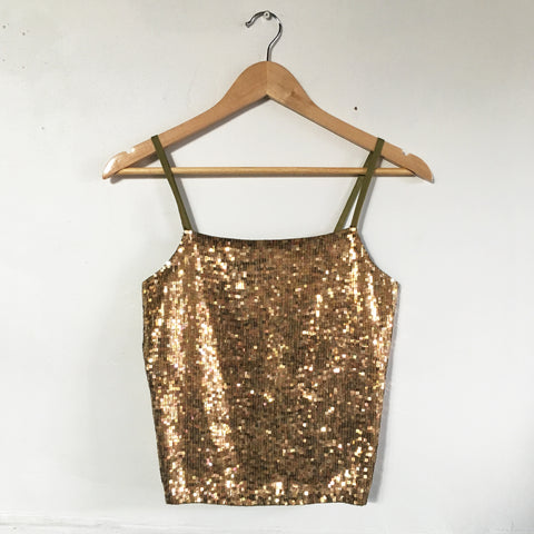 Vintage gold sequin crop top