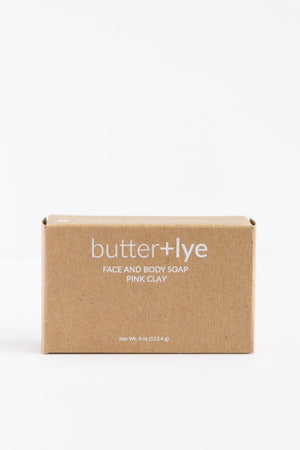 BUTTER + LYE Exfoliating pink clay face and body soap
