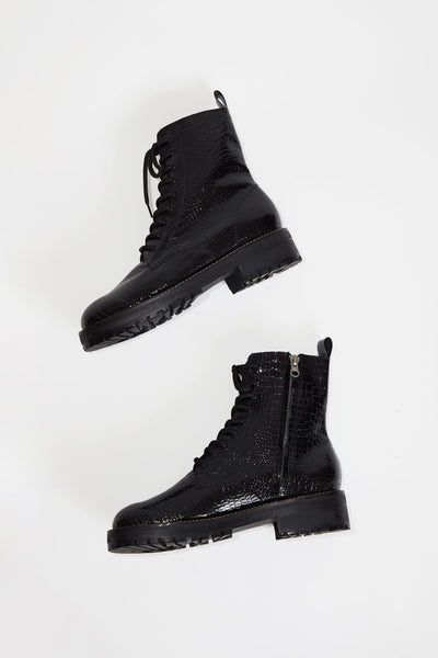 No.6 // Corin Combat Boot in Black Patent Croc