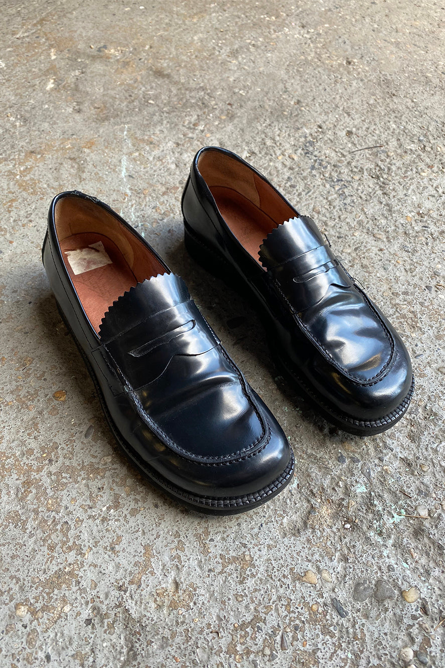 Black leather penny loafers - size 8