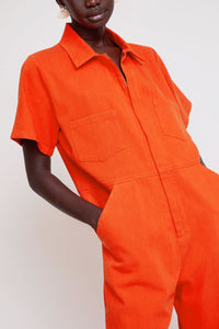 Freya Coverall in Red Twill