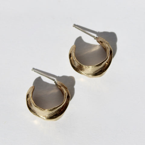 annika fine small touched hoops in brass