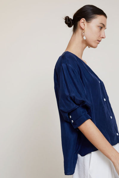 Turin Blouse in Navy Silk