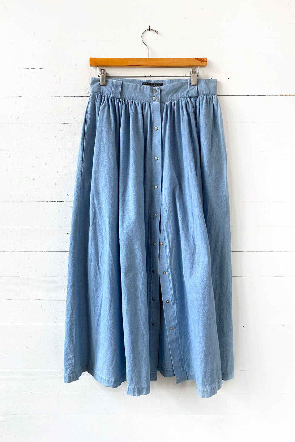Perry Ellis chambray midi skirt